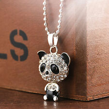 New Fashion Women Silver Panda Rhinestone Pendant Necklace Sweater Chain Jewelry