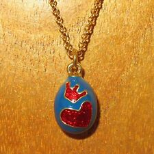 Russian FABERGE inspired BLUE ENAMEL EGG Red Heart & Crown Motif pendant chain