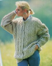 Ladies CARDIGAN Knitting Pattern 8 Ply Double Knittin Copy Cables Raglan Sleeves