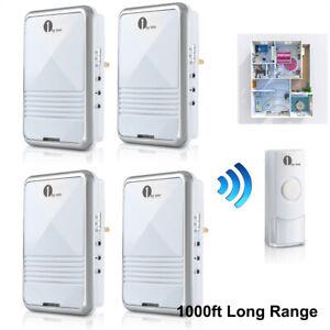 1byone Wireless Doorbell Digital Door Bell 4 Plug-in Receiver & 1 Battery Button