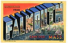 Large Letter - GREETINGS FROM FALMOUTH CAPE COD MA - Linen Postcard
