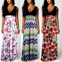 Hot Womens Boho Floral Summer Beach Maxi Long Skirt Evening Cocktail Party Dress