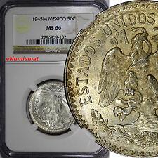 Mexico Silver 1945 M 50 Centavos NGC MS66 GEM BU High Grade KM# 447