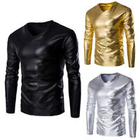 Mens Metallic Shiny Wet Look Long Sleeve T-shirt Top Slim Fit V Neck Blouse Tops