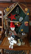 """Country-style Large Super Decorated Wooden Snowmen Bird House (22"""" Tall)"""