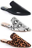 Milly-S1 Women Pointed Toe Slip On Kitten Low Heel Mules Flats Pumps Slides