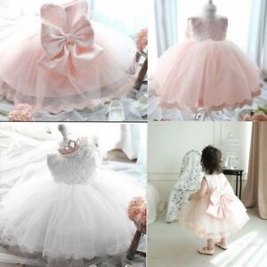 Infant Baby Girl Pageant Party Birthday Wedding Princess Forma Lace Tutu Dress