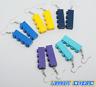 LEGO Dangle Brick Earrings - Blue Yellow Purple - FREE POST