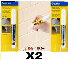 2 X WATERPROOF GROUT REFRESHER PEN REPAIR REVIVE RESTORE TILES BATHROOMS KITCHEN