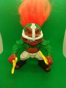 Battle Trolls T.D. Troll Hasbro 1992 Orange Hair Football WITH BOTH AXES!