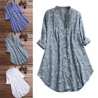 Fashion Plus Size Women Floral Print Long Sleeve Asymmetrical Long Shirt Dress