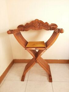 Vintage Italian Folding Wood Chair Savonarola