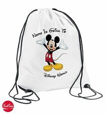 Mickey Mouse Personalised Drawstring Travel Bag Kids Girls Boys