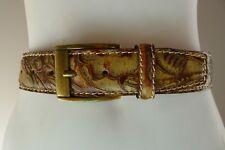 Vintage retro 90s 105/120 brown tooled leather Belt unused Italy Australian M627