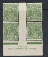 G368) Australia 1931 KGV 1d Green Ash imprint block of 4 from plate 4