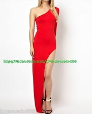 WOMENS High Split Slim Fit Bodycon Long Maxi Club Party Cocktail Dresses RED (M)