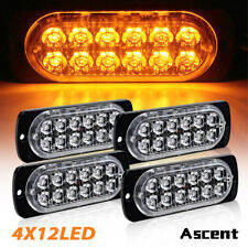 4PCS AMBER 12 LED Emergency Warning Hazard Beacon Strobe Light Bar For Car Truck