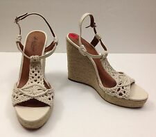 LUCKY BRAND NEW WMNS LP-REYLIN PLATFORM WEDGE IVORY CROCHETED ROPE SANDALS SZ 10