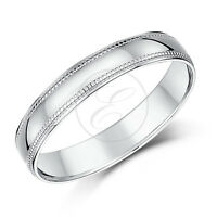 9ct White Gold Ring Millgrain Wedding Ring Band Solid Heavy Weight D Shape Band
