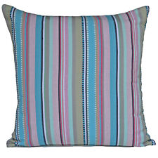 "Blue Stripe Cushion Cover Pink Aqua Green 40cm 16"" 100% Cotton Paradise Rainbow"