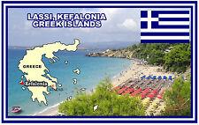 LASSI, KEFALONIA, GREEK ISLANDS MAP & FLAG - SOUVENIR NOVELTY FRIDGE MAGNET