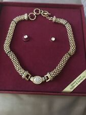 necklace And Ear Rings Genuine Crystal Set. New