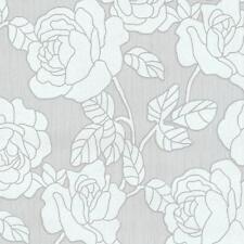 p&s International Ópalo estampado de flores papel pintado gris metalizado Plata