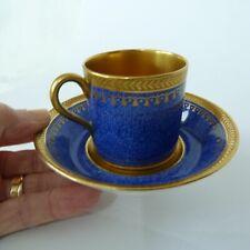 Antique Cauldon Coffee Can & Saucer Cobalt Blue & Gold