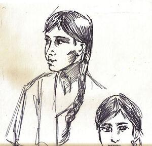 """PORTRAITS""by RUTH FREEMAN INK 9 1/2"" X 13"""