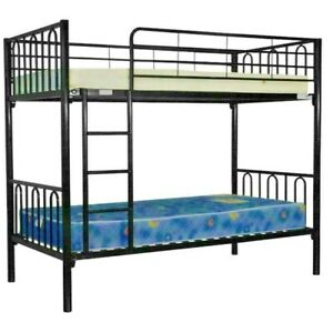 Black Metal Single Bunk/White Bed Furntech Certified Bunk Bed and Mattresses