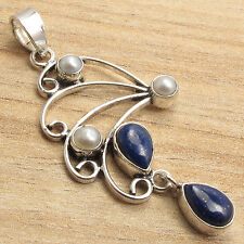925 Silver Plated LAPIS LAZULI & PEARL 5 Gemset Multi Colored Pendant 2 inches