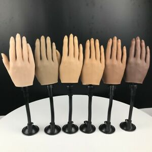 KnowU Silicone Fake Hand Nails Art Practice Hand With Black Table Clip Upgrade
