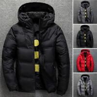 Mens Winter Lightweight Duck Down Jacket Thick Hooded Puffer Warm Outwear Coat