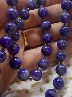 "Vintage ""Grape Purple"" Swirl Bead Necklace"