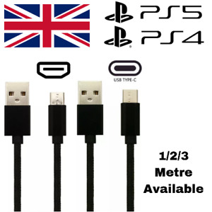 Charger Cable For PS5 PS4 PlayStation 5 4 Controller 1M 2M 3M USB Charging Lead