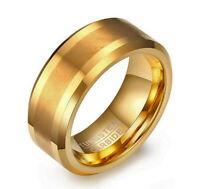 Tungsten Carbide Men's Gold Plated Brushed Comfort Fit Wedding Band Ring M107
