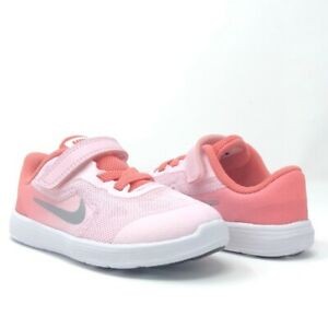 NIKE Kids Revolution 3 (TDV) Running Shoes Arctic Pink/Metallic Silver SizeUS 4C