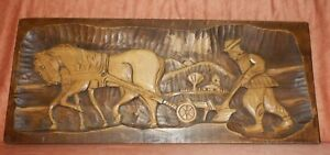 Beautiful antique hand carved wooden farm scene plaque