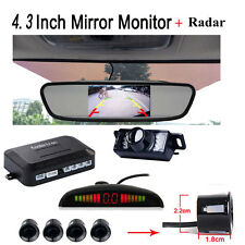 "REAR VIEW MIRROR MONITOR 4.3""CAR BACK UP REVERSE CAMERA PARKING SYSTEM 4 SENSORS"