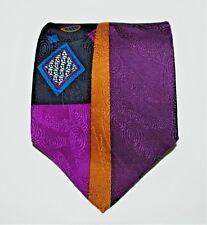 BUGATTI Geometric Tie Purple Gold Black Teal 100% Italian Silk