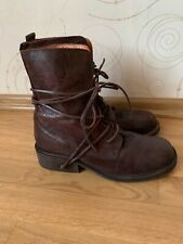 Buffalo Mens Brown leather Combat  Boots Stylish Shoes Size 10 EU 43