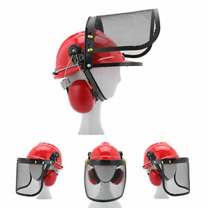 Professional Chainsaw Helmet With Ear Defenders Mesh Visor Free Safety Red UK