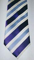 DONALD J. TRUMP SIGNATURE COLLECTION Purple,Blue, White Stripped Tie 100% Silk