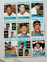 Lot of 9 1964 Topps BALTIMORE ORIOLES vintage baseball cards  Robin Roberts