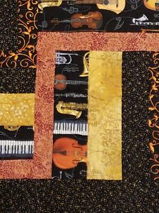 Handmade Quilt Log Cabin Pieced Lap Comforter Musician Music Instrument 43x51