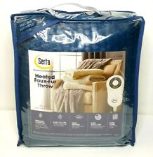 Serta - Electric Heated Controlled - Faux-Fur - Navy Blue - Throw - Free Ship