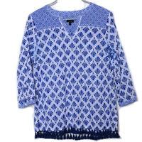 Talbots Blue White 3/4 Sleeve VNeck Cotton Tasseled Hem Geo Tissue Tunic Top Med