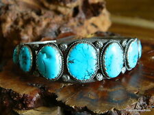 Old Pawn Sterling Silver Multi Turquoise Stampwork Navajo Cuff Bracelet NICE!