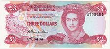 Bahamas 3 Dollars {A705484} ~ UNC BANK NOTE