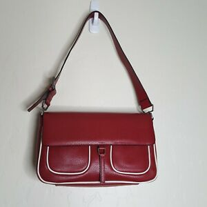 Pin Up Rockabilly Purse Red w White Piping Handbag Snap Close Faux Leather